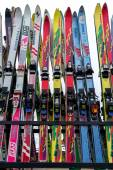 Ski equipment at Falakro ski center, in Greece. Visitors can ren — Stock Photo