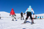 Visitors enjoy the snow skiing on the mountain of Falakro, Greec — Stock Photo