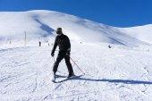 Skier skiing on the mountain of Falakro, Greece. The ski resort — Stock Photo