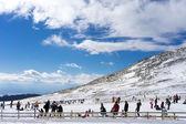 Skidåkare njuta av snön på Kaimaktsalan skidcenter, i Grekland. Rec — Stockfoto