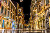 The historic center of Corfu town at night, Greece — Foto Stock