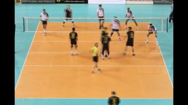 (Timelapse View) General view of a volleyball game Paok vs Aris for the Greek Volley League — Stock Video
