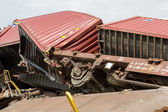 Derailed train coaches at the site of a train accident at the Ge — Zdjęcie stockowe