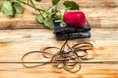 Rose and vintage audio cassette on a wooden background. — Photo