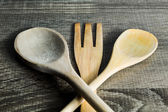 Isolated Wooden Kitchen Utensils. Spoon and fork — Stock Photo