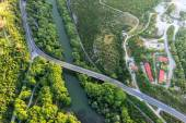 Aerial view of the bridge and the road over the river Pinios in  — Stock Photo