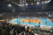 ПАОК против Олимпиакос Греции volleyleague финал — Стоковое фото