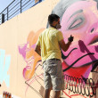 Painters graffiti during the course of Street Art Festival Thess — Stock Photo #75693299