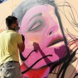 Painters graffiti during the course of Street Art Festival Thess — Stock Photo #75693453