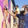 Painters graffiti during the course of Street Art Festival Thess — Stock Photo #75693949