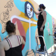 Painters graffiti during the course of Street Art Festival Thess — Stock Photo #75696091