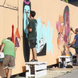 Painters graffiti during the course of Street Art Festival Thess — Stock Photo #75697393
