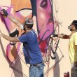 Painters graffiti during the course of Street Art Festival Thess — Stock Photo #75697583
