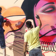 Painters graffiti during the course of Street Art Festival Thess — Stock Photo #75697673