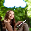 Young woman with laptop in the park — Stock Photo #57000781
