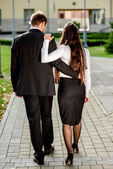 Young business couple outdoor — Stock Photo