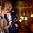 Loving couple on the night city background — Stock Photo #58199049