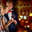 Loving couple on the night city background — Stock Photo #58206047