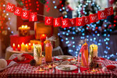 Sweet Christmas decorated table — ストック写真