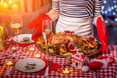 Woman preparing for Christmas dinner — Stock Photo
