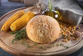 Corn bread on wooden board — Photo