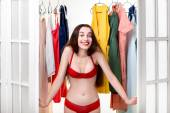Woman in wardrobe — Stock Photo