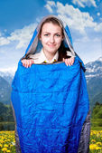 Girl in the sleeping bag — Stock fotografie