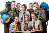 Scouts in studio — Stock fotografie