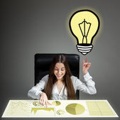 Businesswoman with great idea — Stock Photo