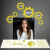 Woman analyzing business calculations — Stock Photo