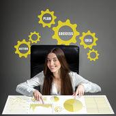 Woman analyzing business calculations — Foto de Stock