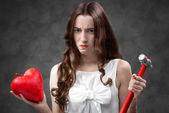 傷ついた心を持つ女性 — ストック写真