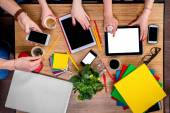 Working on table with gadgets — Stock Photo