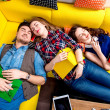 Sleeping and tired students on the couch — Stock Photo #63413257