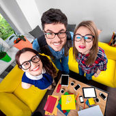 Three funny nerds together — Stock Photo