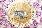 Ukrayna ve amerikan para olan bir arka plan, doku, arka plan — Foto de Stock