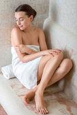 Woman in Roman sauna — Stock Photo