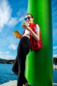 Sport woman with phone — Stock Photo