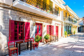 Street view with colorful old houses in Greece — Stock Photo