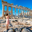 Woman photographing Parthenon temple in Acropolis — Stock Photo #73044715