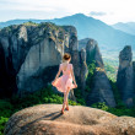 Woman enjoying nature on the mountains — Stock Photo #73883525