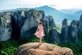 Woman enjoying nature on the mountains — Stock Photo