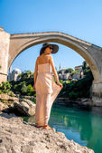 Woman tourist in Mostar city — Stock Photo