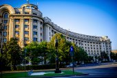 Buildings in the center of Bucharest city — Stock Photo