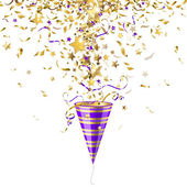 Party popper with confetti — Stockvector