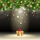 Tarjeta de felicitación con regalo — Vector de stock