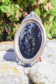 Antique silvered mirror — Stock Photo