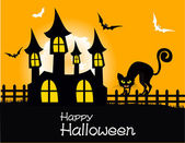Happy halloween party plakat — Wektor stockowy
