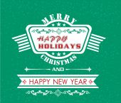 Vector Merry Christmas and Happy New Year card design. — Stockvektor