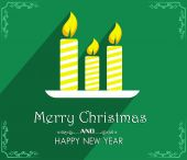 Vector Merry Christmas and Happy New Year card design — Vecteur